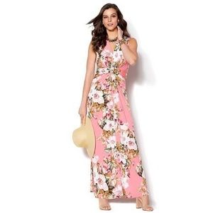 NWT Iman Global Chic Rose Floral Maxi Dress